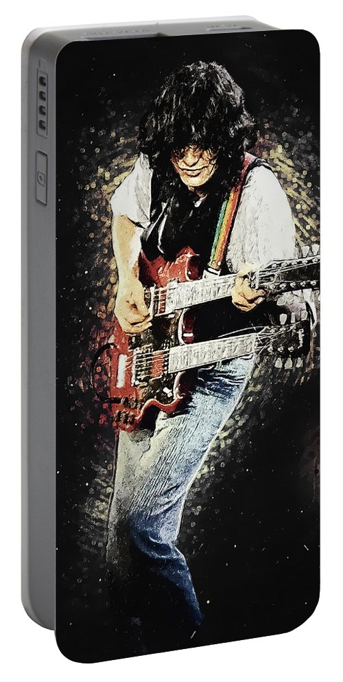 Led Zeppelin Portable Battery Charger featuring the digital art Jimmy Page II by Zapista OU