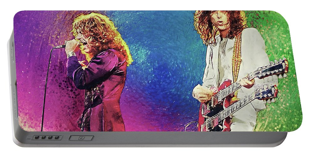 Led Zeppelin Portable Battery Charger featuring the digital art Jimmy Page - Robert Plant by Zapista OU
