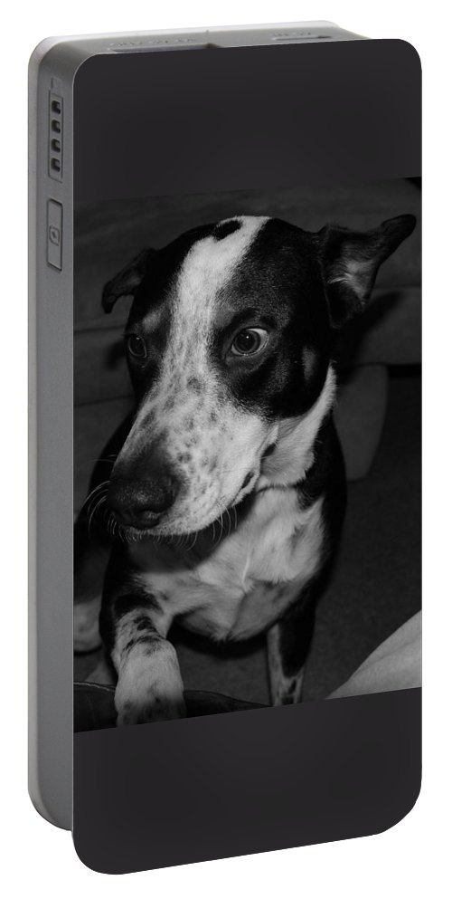 Black And White Portable Battery Charger featuring the photograph Jimmy by Rob Hans