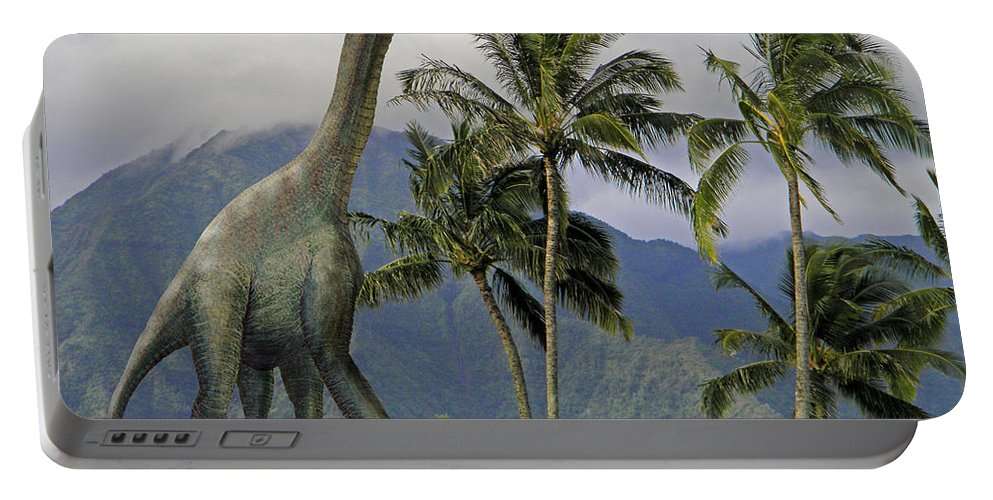 Dinosaur Art Portable Battery Charger featuring the mixed media Jobaria In Meadow by Frank Wilson