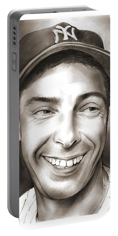 Joe Dimaggio Portable Battery Charger featuring the drawing Joe Dimaggio by Greg Joens