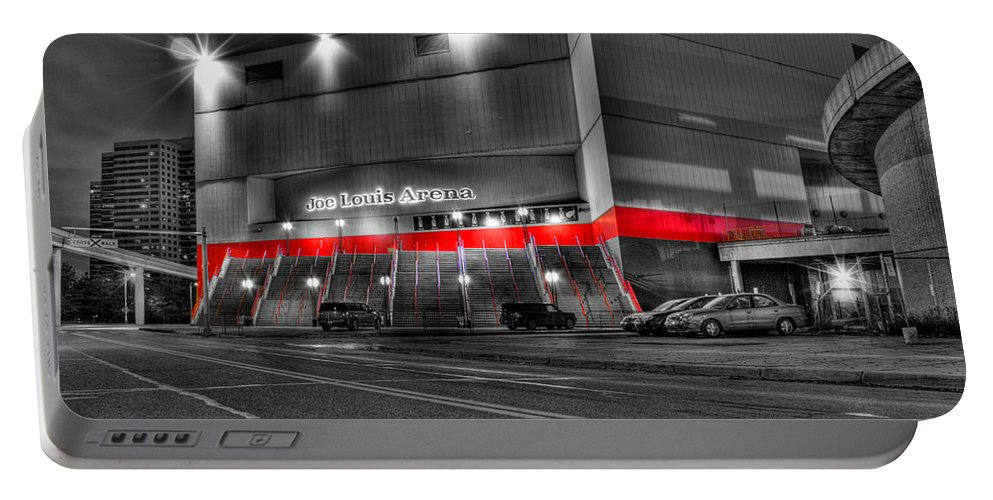 Portable Battery Charger featuring the photograph Joe Louis Arena Detroit MI by Nicholas Grunas