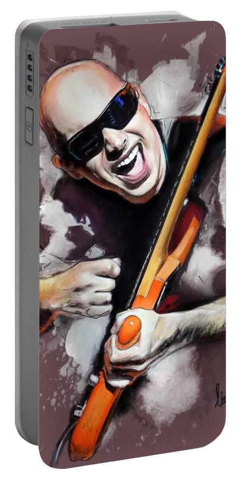 Joe Satriani Portable Battery Charger featuring the pastel Joe Satriani by Melanie D