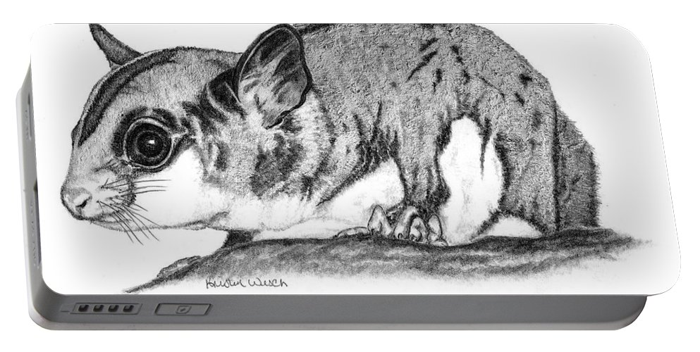 Sugar Glider Portable Battery Charger featuring the drawing Joey by Kristen Wesch