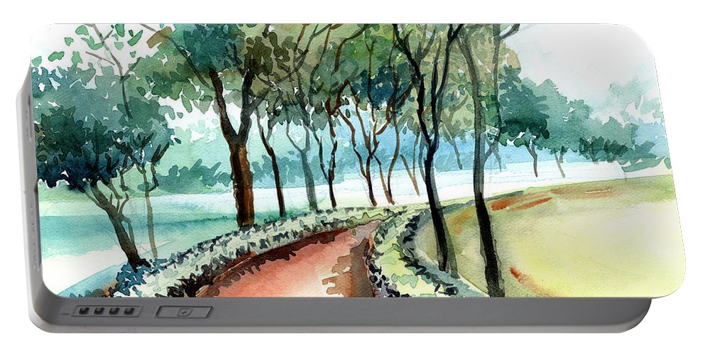 Landscape Portable Battery Charger featuring the painting Jogging Track by Anil Nene