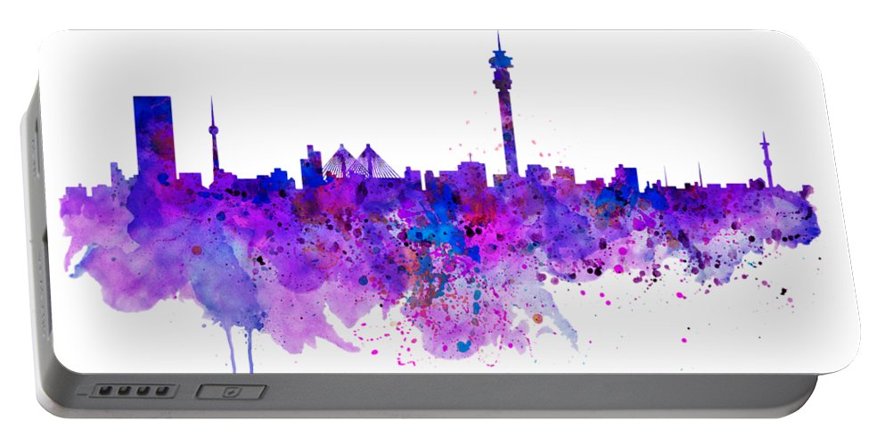 Johannesburg Portable Battery Charger featuring the painting Johannesburg Skyline by Marian Voicu