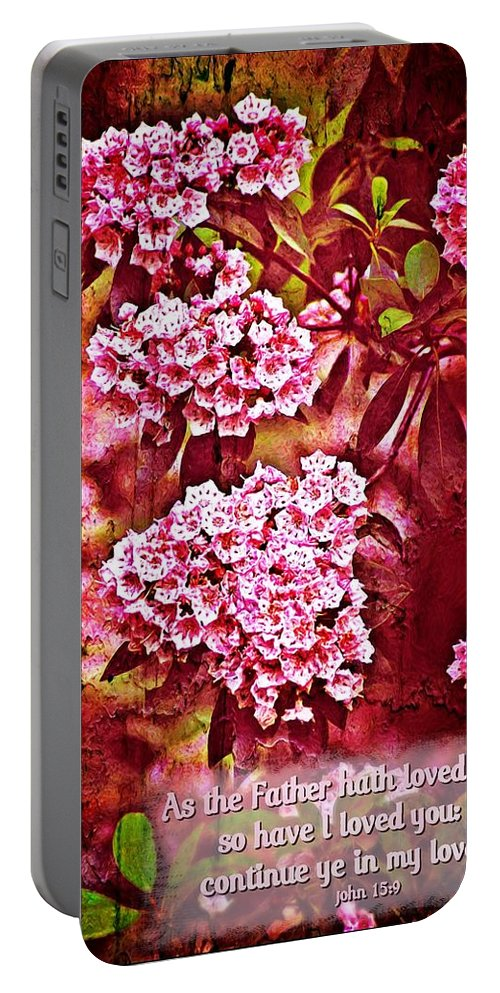Jesus Portable Battery Charger featuring the digital art John 15 9 by Michelle Greene Wheeler