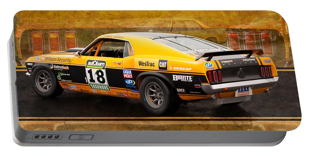 Muscle Car Masters Portable Battery Charger featuring the photograph John Bowe's Mustang 'sally' by Stuart Row