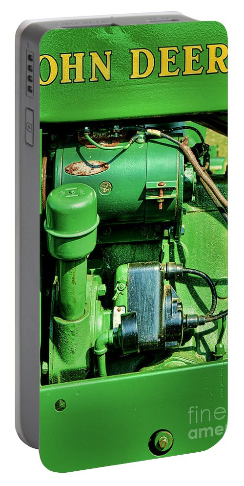 John Portable Battery Charger featuring the photograph John Deere Tractor Engine Detail by Olivier Le Queinec