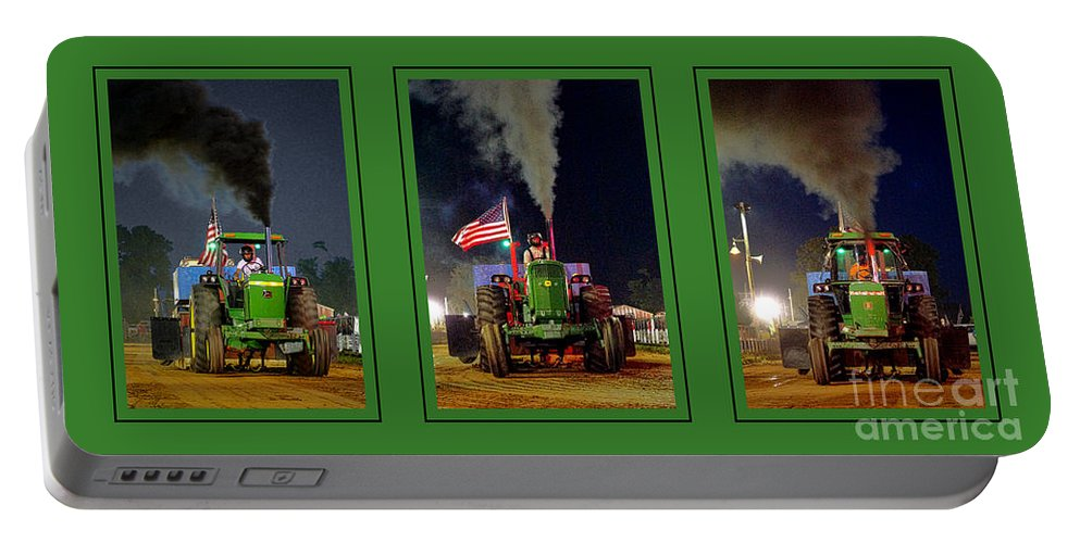 John Portable Battery Charger featuring the photograph John Deere Tractor Pull Poster by Olivier Le Queinec