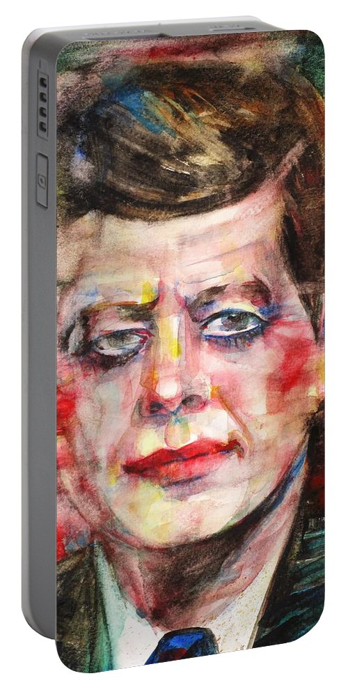 Kennedy Portable Battery Charger featuring the painting John F. Kennedy - Watercolor Portrait.3 by Fabrizio Cassetta