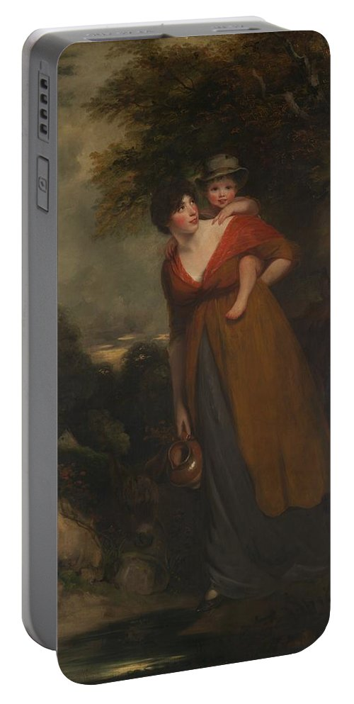 Mrs. Richard Brinsley Sheridan Portable Battery Charger featuring the painting John Hoppner by MotionAge Designs