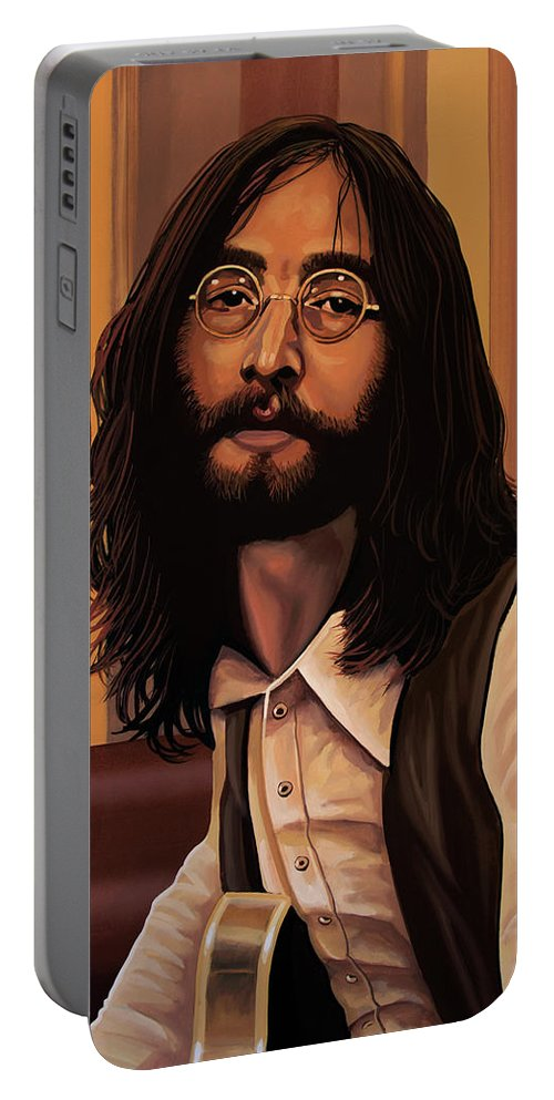 John Lennon Portable Battery Charger featuring the painting John Lennon Imagine by Paul Meijering