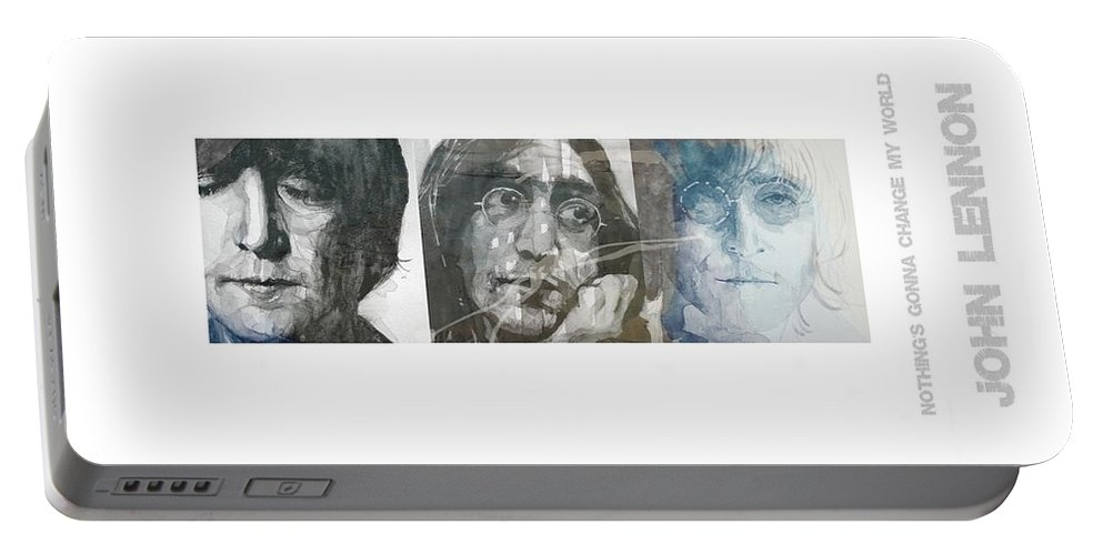 John Lennon Portable Battery Charger featuring the mixed media John Lennon Triptych by Paul Lovering