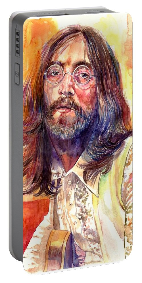 John Lennon Portable Battery Charger featuring the painting John Lennon watercolor by Suzann Sines