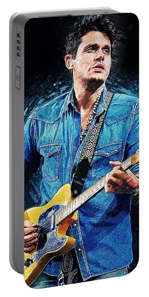 John Mayer Portable Battery Charger featuring the digital art John Mayer by Zapista OU