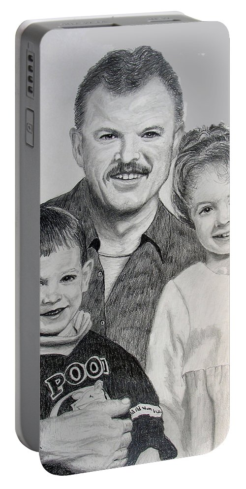 Portrait Portable Battery Charger featuring the drawing John Megan And Joey by Stan Hamilton