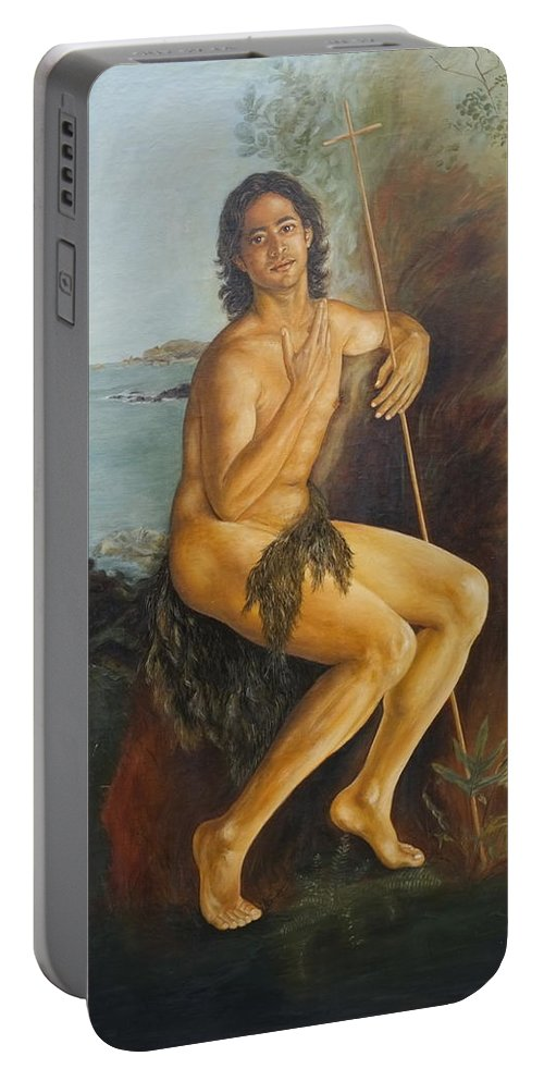 John The Baptist Portable Battery Charger featuring the painting John The Baptist by Eva Santi