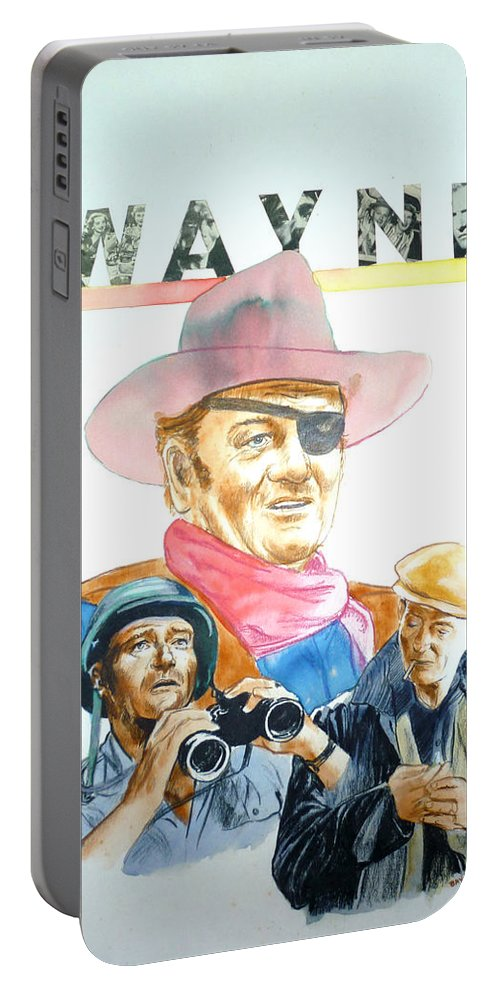 John Wayne Portable Battery Charger featuring the painting John Wayne by Bryan Bustard