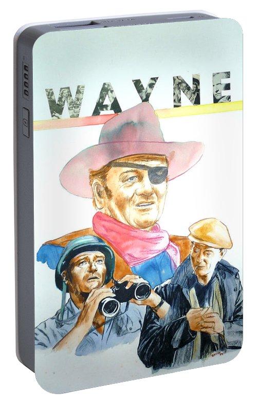 John Wayne Portable Battery Charger featuring the painting John Wayne by Bryan Bustard