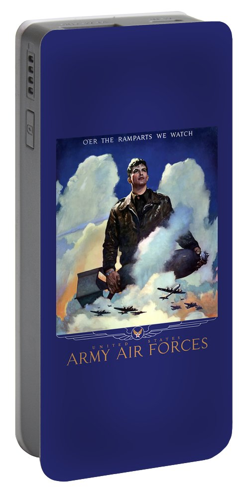 Air Force Portable Battery Charger featuring the painting Join The Army Air Forces by War Is Hell Store