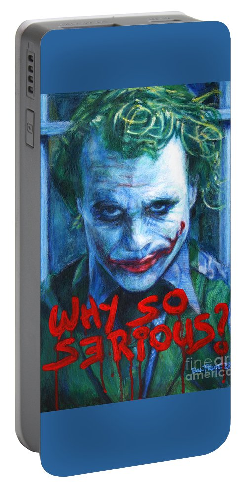 Joker Portable Battery Charger featuring the painting Joker - Why So Serioius? by Bill Pruitt