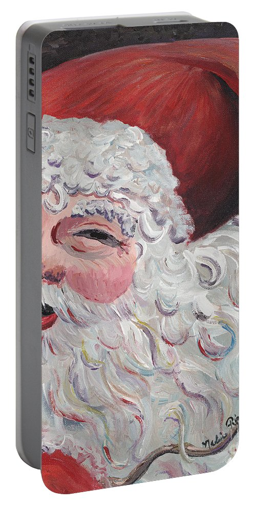 Santa Portable Battery Charger featuring the painting Jolly Santa by Nadine Rippelmeyer
