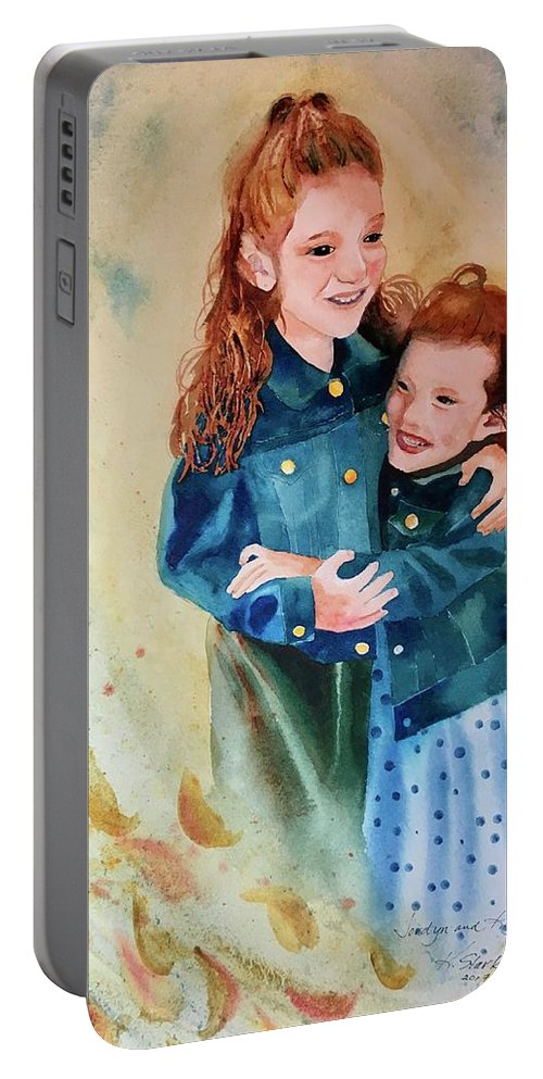 Painting Portable Battery Charger featuring the painting Jordyn and Kayden by Karen Stark
