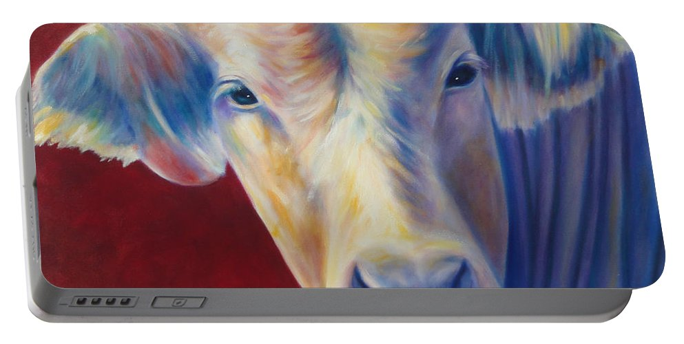 Bull Portable Battery Charger featuring the painting Jorge by Shannon Grissom
