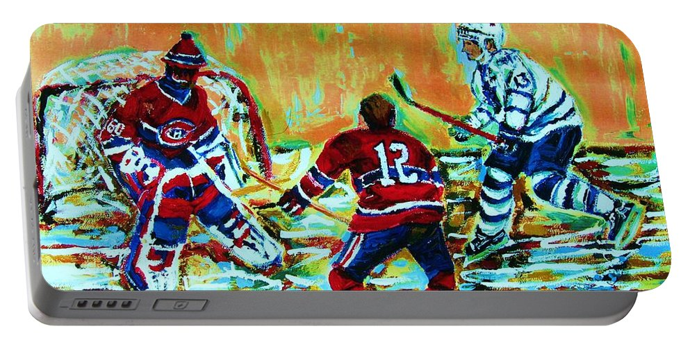 Hockey Canvas Prints Portable Battery Charger featuring the painting Jose Theodore The Goalkeeper by Carole Spandau