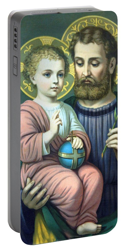 Christians Portable Battery Charger featuring the painting Joseph And Baby Jesus by Munir Alawi