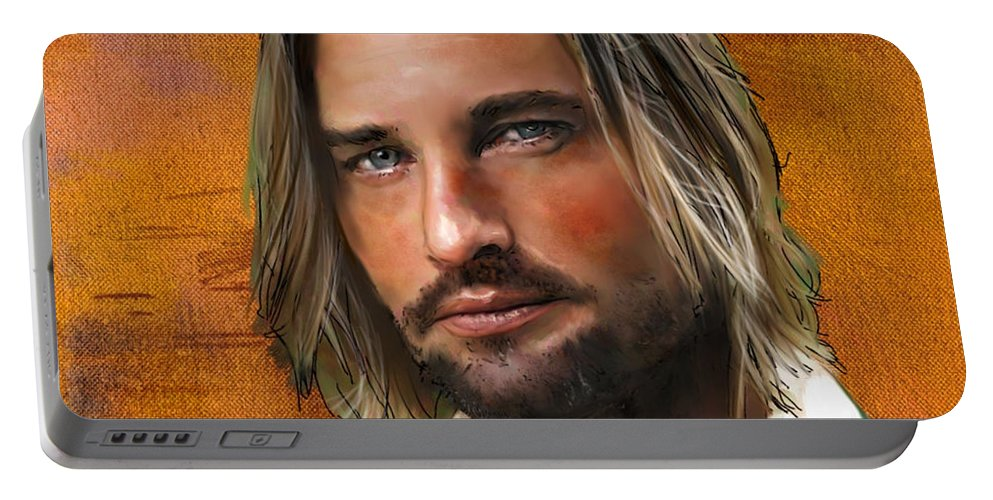 Figure Portable Battery Charger featuring the digital art Josh Holloway by Scott Bowlinger