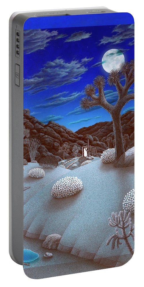 Landscape Portable Battery Charger featuring the painting Joshua Tree At Night by Snake Jagger