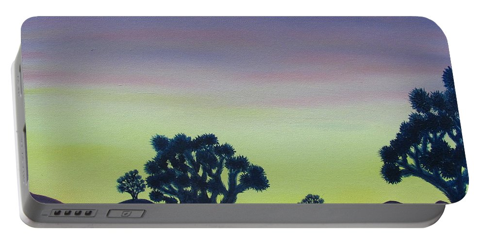 Joshua Tree Desert Landscape Canvas Prints California Desert Sunset Canvas Prints Desert Oil Painting Prints Portable Battery Charger featuring the painting Joshua Tree Sunset by Joshua Bales