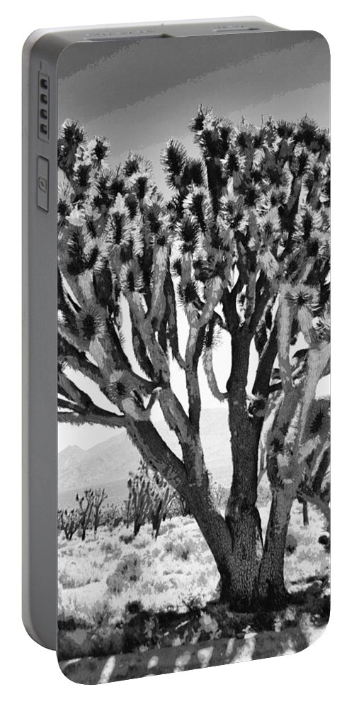 Joshua Tree Portable Battery Charger featuring the photograph Joshua Trees Bw by William Dey