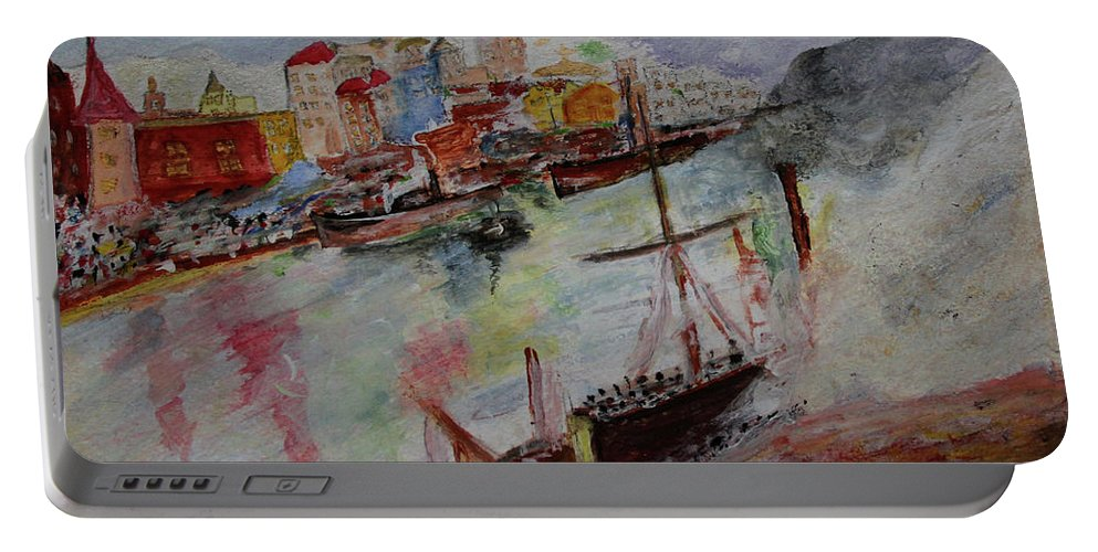 The City On Waters Portable Battery Charger featuring the painting Journey On Waters by Jay Namdev