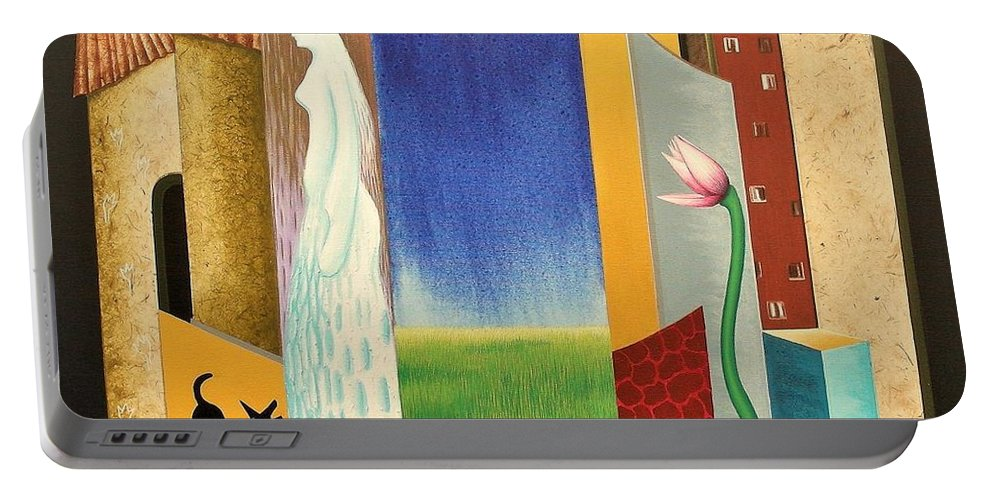 Romantic Portable Battery Charger featuring the painting Journy -13 by Raju Bose