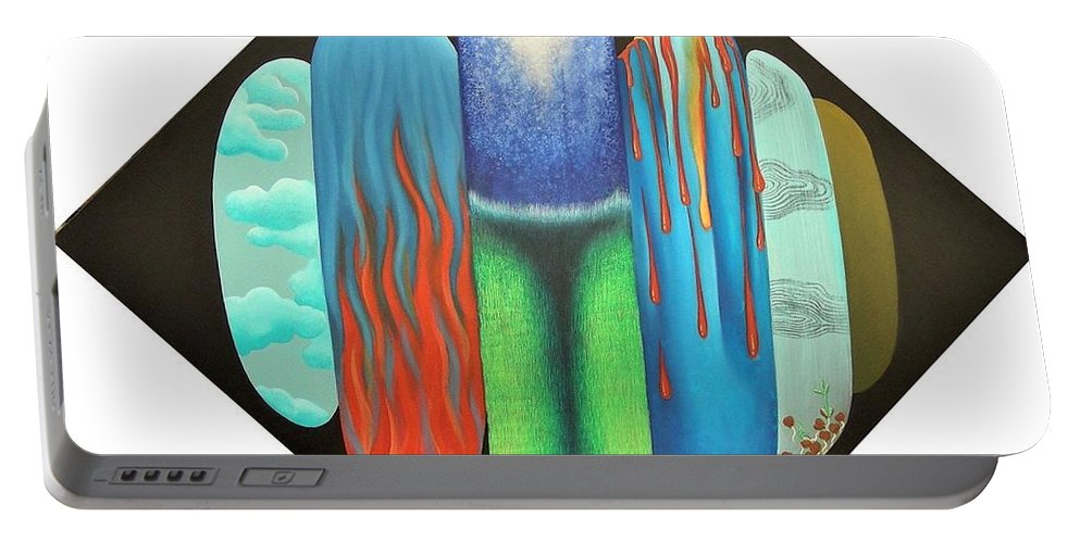 Romantic Portable Battery Charger featuring the painting Journy- 15 by Raju Bose