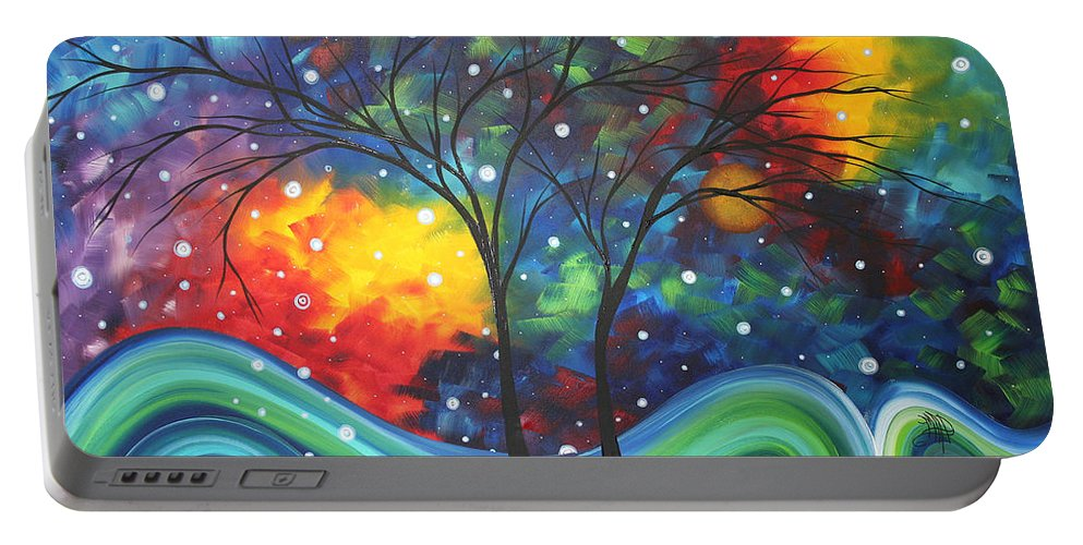 Abstract Portable Battery Charger featuring the painting Joy By Madart by Megan Duncanson