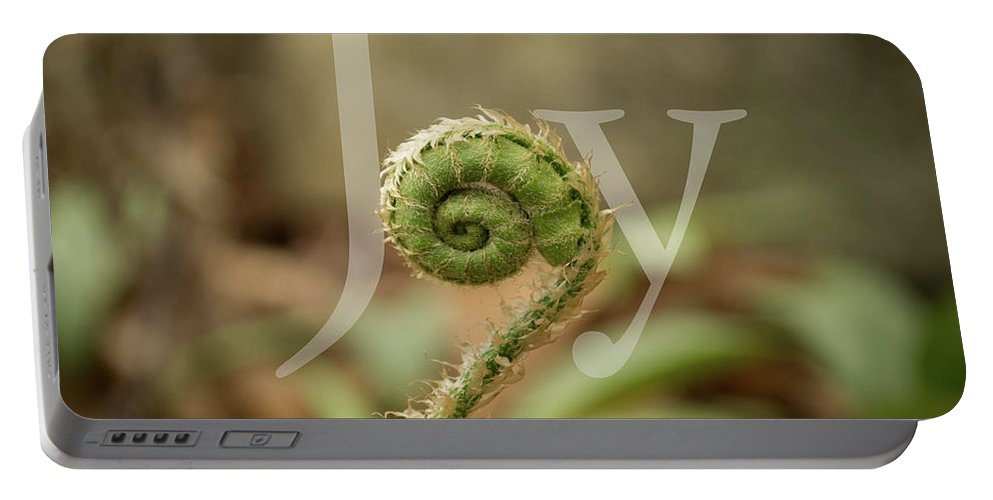 Joy Portable Battery Charger featuring the photograph Joy Fiddlehead by Stephen Martin