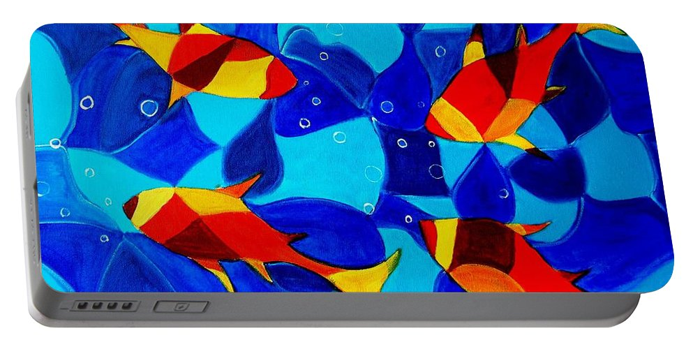 Abstract.acrylic.fish.bubbles.art.painting.modern.contemporary.popblue Red Bubbles Yellow Landscape Portable Battery Charger featuring the painting Joy Fish Abstract by Manjiri Kanvinde