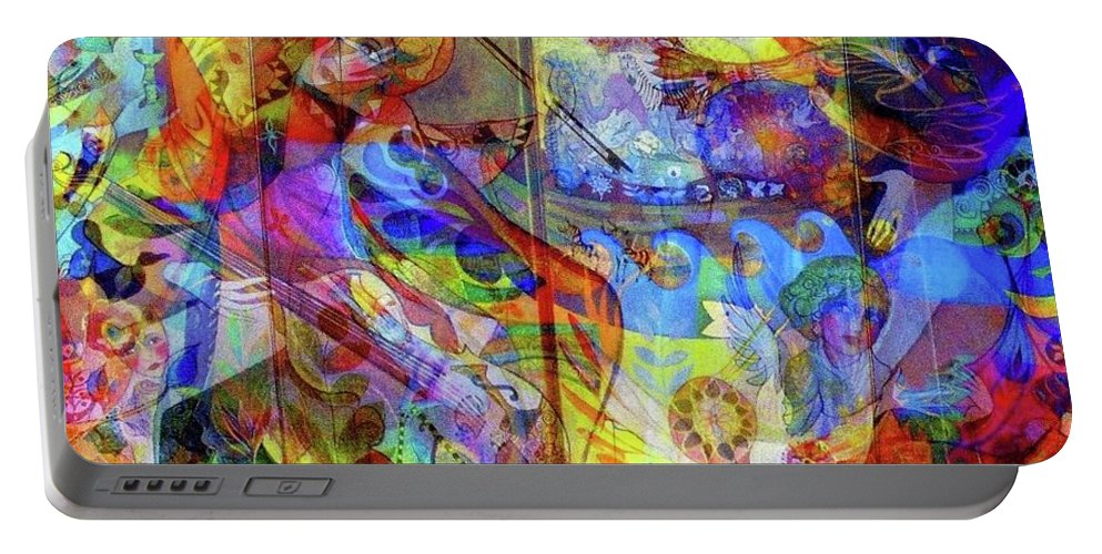 Happy Digital Work Portable Battery Charger featuring the digital art Joy by Jacqueline Craig
