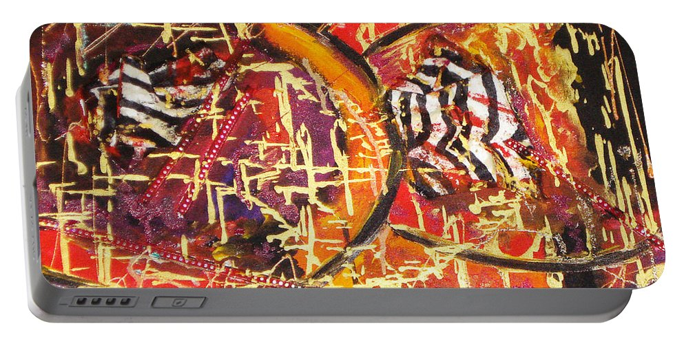 Acrylic Abstract Portable Battery Charger featuring the painting Joy Of Life by Yael VanGruber