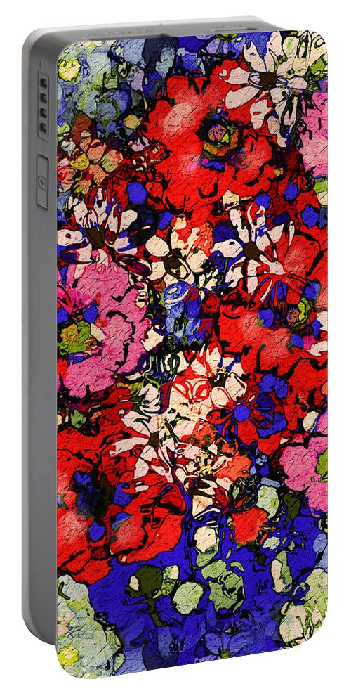 Floral Abstract Portable Battery Charger featuring the painting Joyful Flowers by Natalie Holland