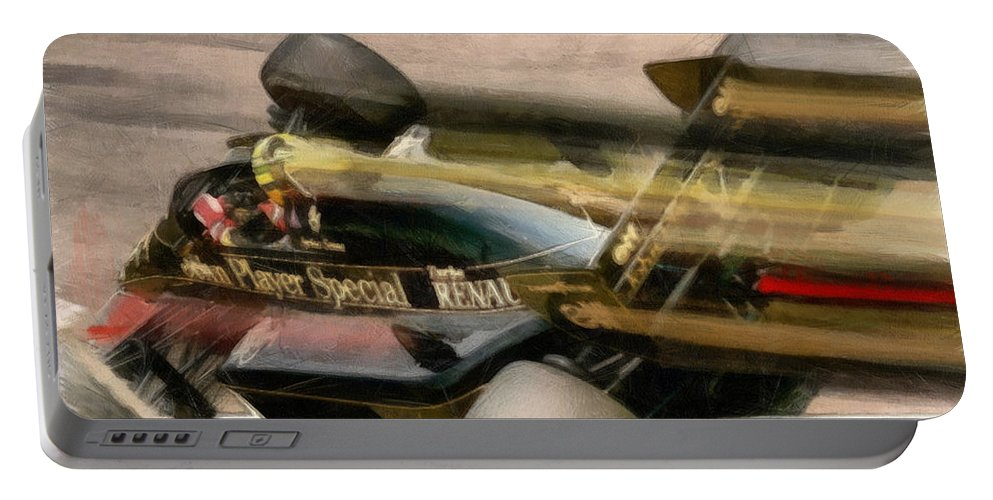 Senna Portable Battery Charger featuring the painting Jps Turbo by Tano V-Dodici ArtAutomobile