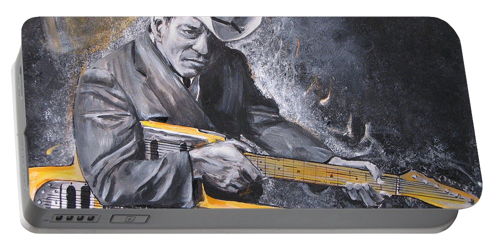 Jr. Brown Portable Battery Charger featuring the painting Jr. Brown by Eric Dee