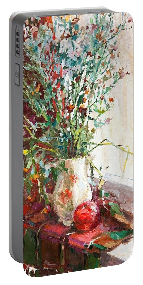 Jug Portable Battery Charger featuring the painting Jug With Red Apple by Alina Ogorodnikova