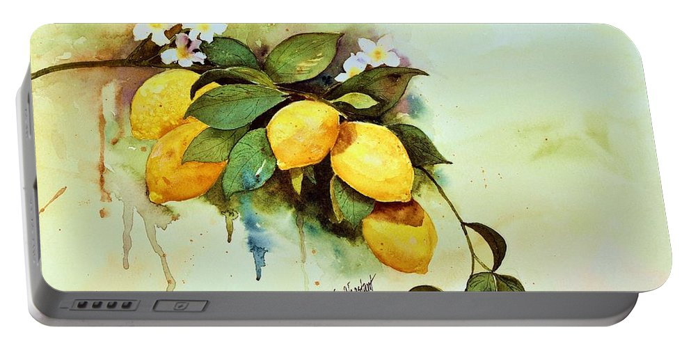 Lemons Portable Battery Charger featuring the painting Juicers by Renee Chastant