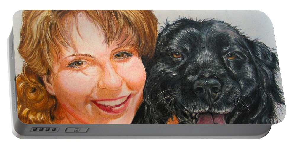 Girls Portable Battery Charger featuring the drawing Juli And Sam by Karen Ilari