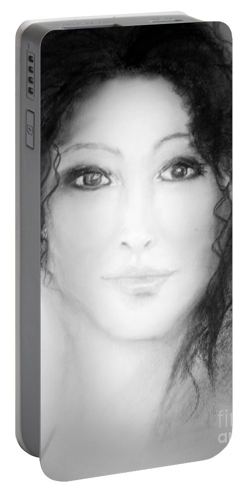 Portrait Portable Battery Charger featuring the pastel Julia In Black And White by Angela Cartner